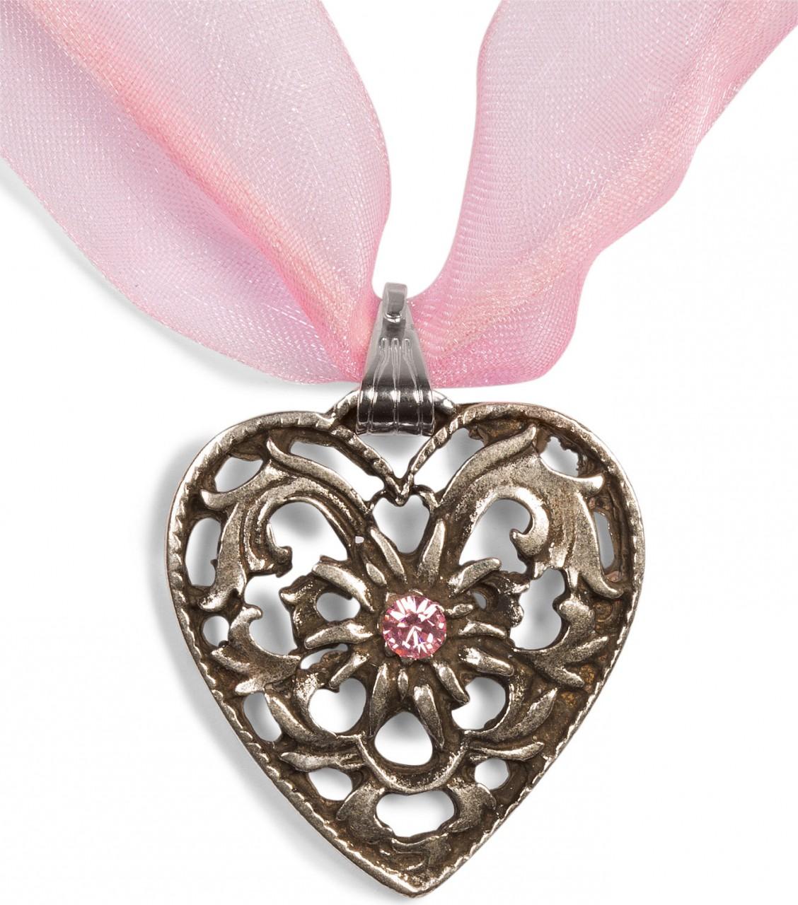 Chiffonband Herzkette mit Stein, rosa