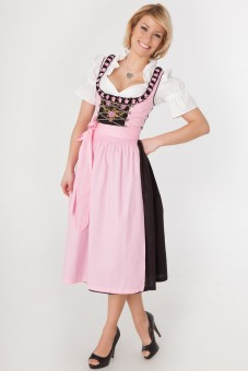 Pink 3-piece longer-length dirndl with pink rose embroidery