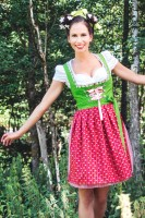 Sandra dirndl Cheeky mini dirndl in green and red