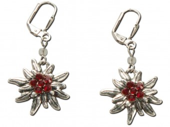 Trachten Earrings, Edelweiß, Silver-Red