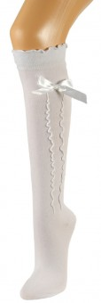 Ladies Stockings with Ruffle & Bow, White
