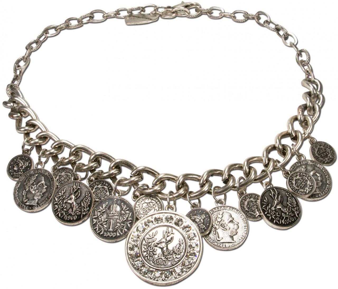 Trachten-Münzhalskette Glitzerhirsch altsilber
