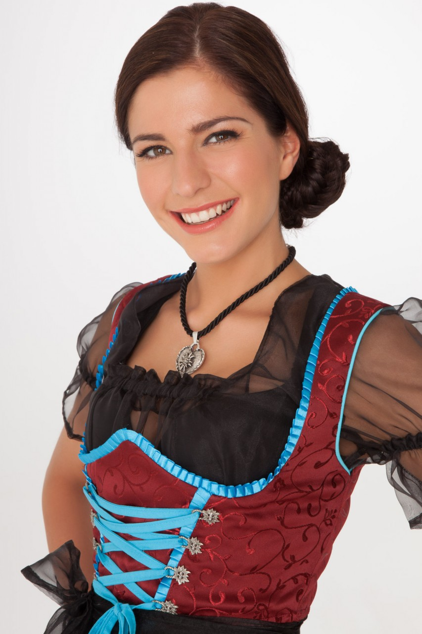 3-piece red dirndl with tulle blouse and apron