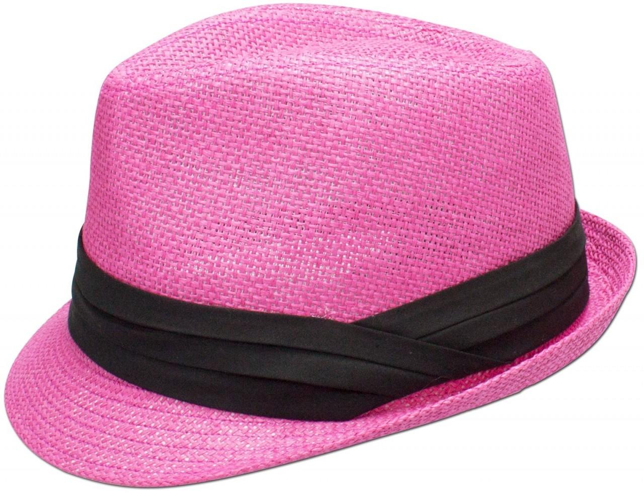 Trachten-Strohhut schlicht pink