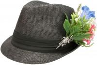 Vorschau: Strohhut Alpenblümchen schwarz