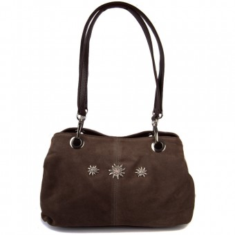 Handtasche Larissa Wildleder dunkelbraun
