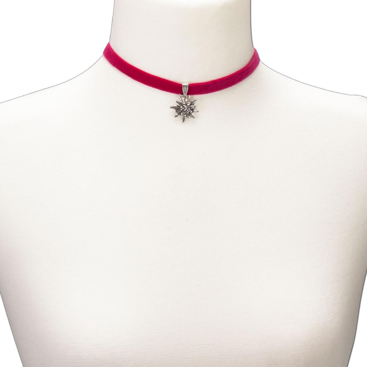 Fluwelen jurk klein edelweiss roze