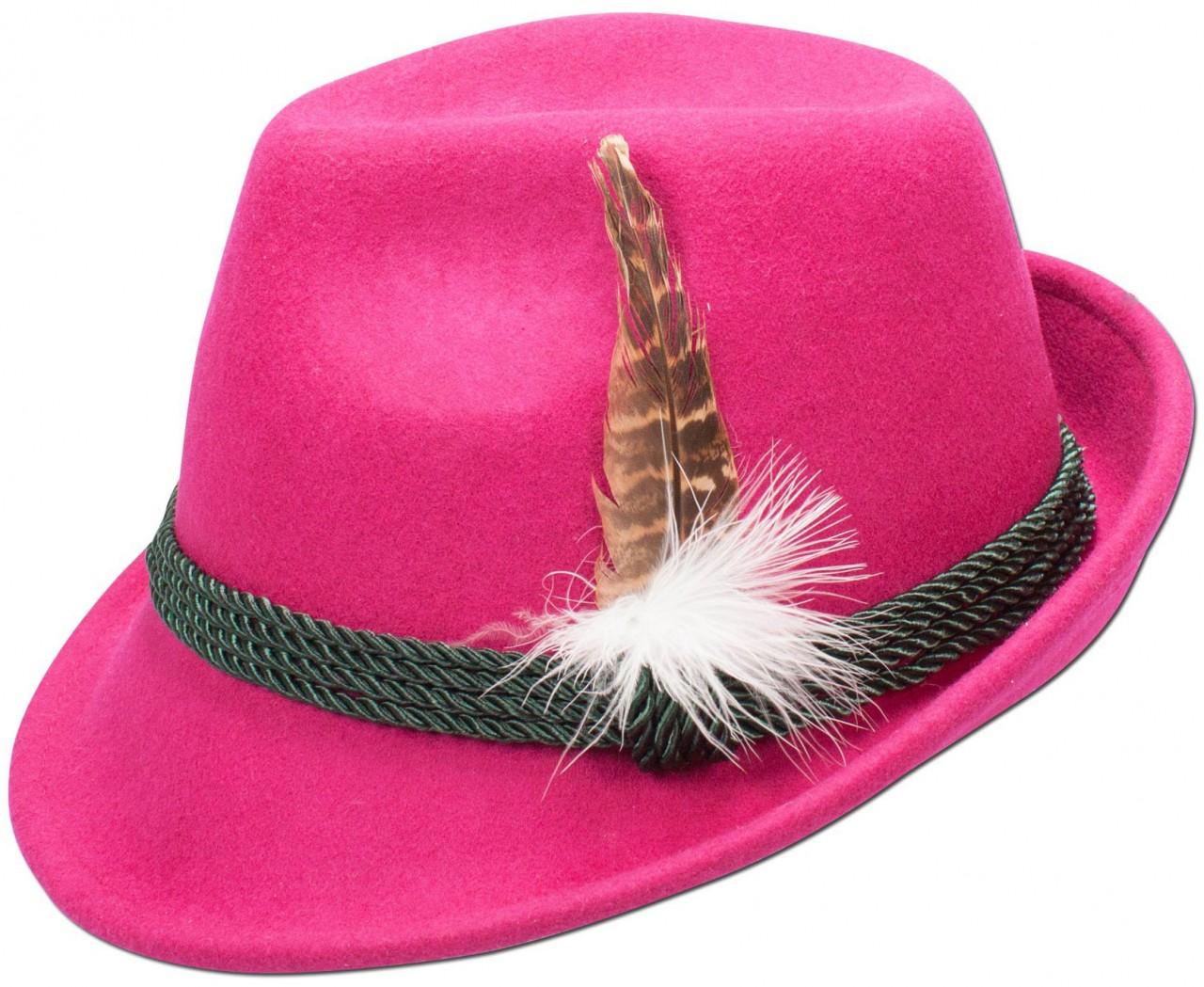 Trachten-Filzhut mit Feder pink