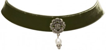 Trachten Choker with Ornamental Pendant, Olive Green