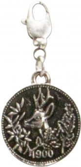 Trachten Deer Coin Pendant, Antique Silver