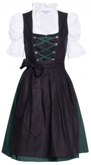 3-piece black dirndl with dark green skirt