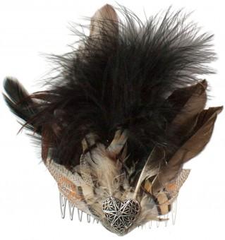 Fascinator Federwunder braun schwarz