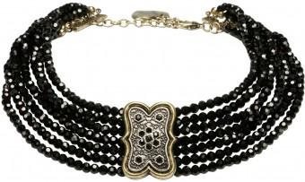 Perlen-Kropfkette Ida schwarz