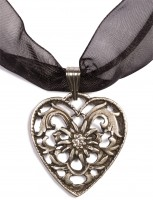 Dirndl Necklace - Bavarian Oktoberfest - Heart with Stone, black