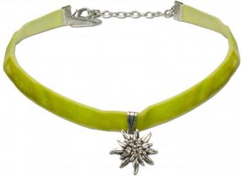 Samtkropfband kleines Edelweiß hellgrün