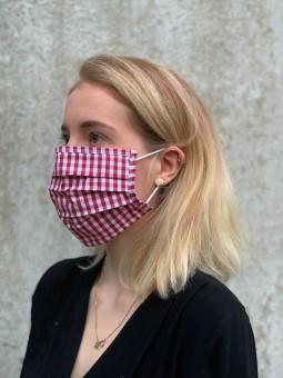 Mund-Nasen-Maske rot-kariert