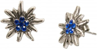 Mini Trachten Earrings, Edelweiss, Blue