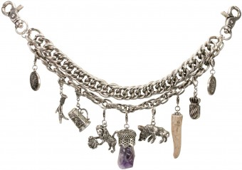 Double Charivari Chain Josef, Antique Silver
