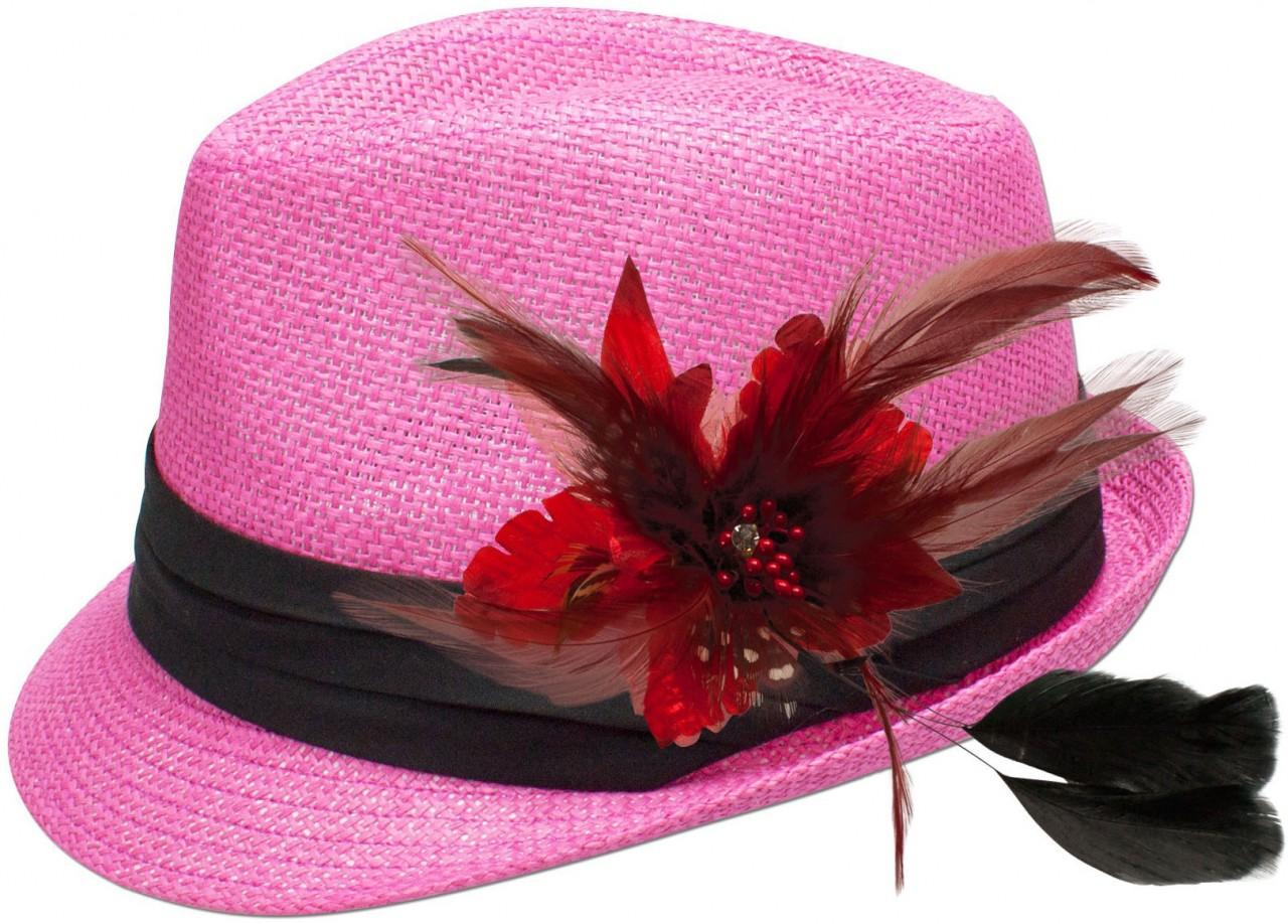 Straw hat Clara with red feather brooch