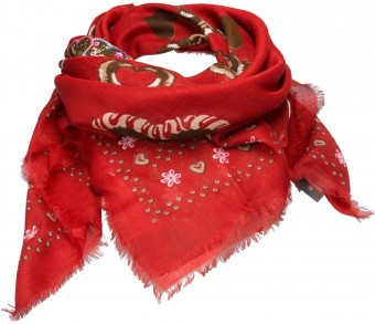 Trachten Neckerchief, Heart-Print, Red