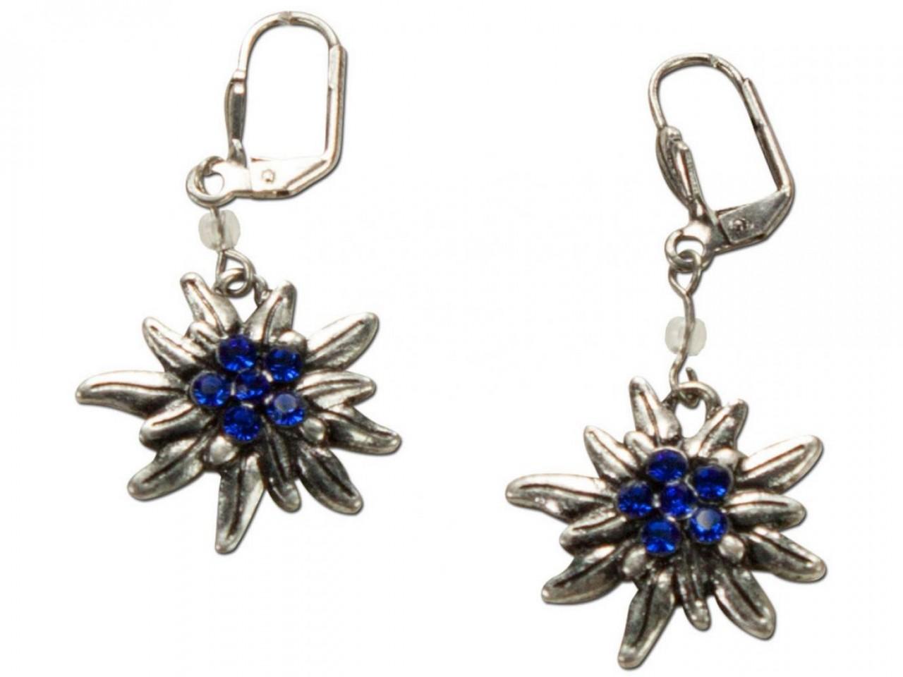 Tradycyjne kolczyki szarotka srebrno-niebieskie