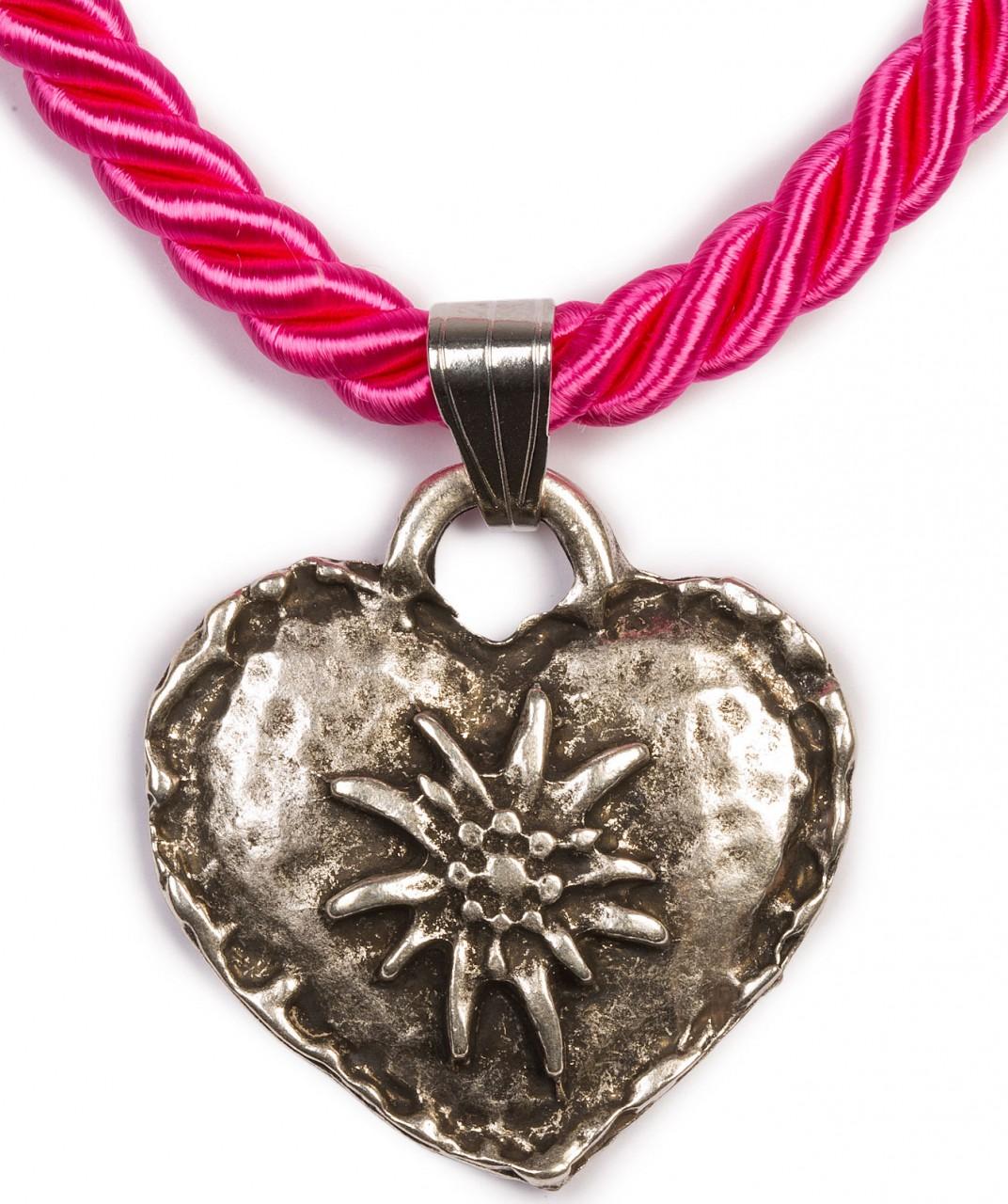 Kordelkette mit Edelweiß Herz, pink