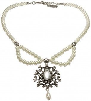 Perlen-Trachtenkette Aune cremeweiß