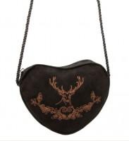 Vorschau: Herzförmige Trachtentasche Hirsch & Eichenlaub schwarz