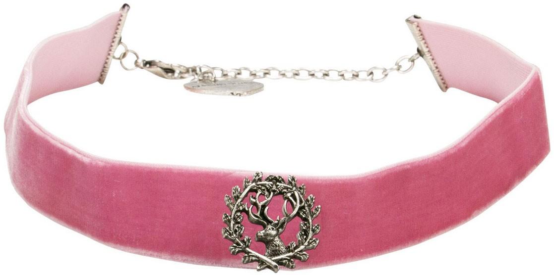 Trachten Kropfband mit Hirsch rosa