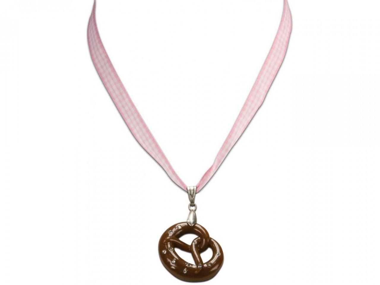 Trachten Halskette Brezel rosa