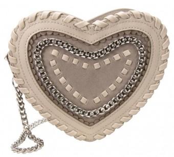 Herzförmige Trachtentasche taupe