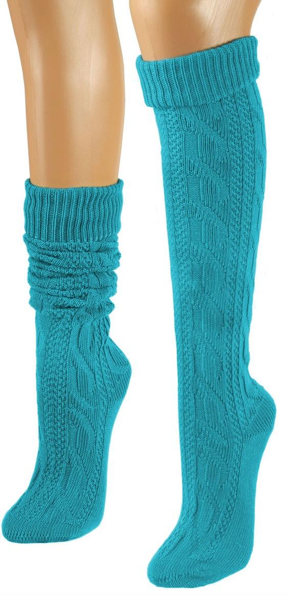Sokken turquoise knielengte