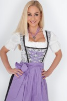 3-piece white, balconette-style dirndl with purple apron