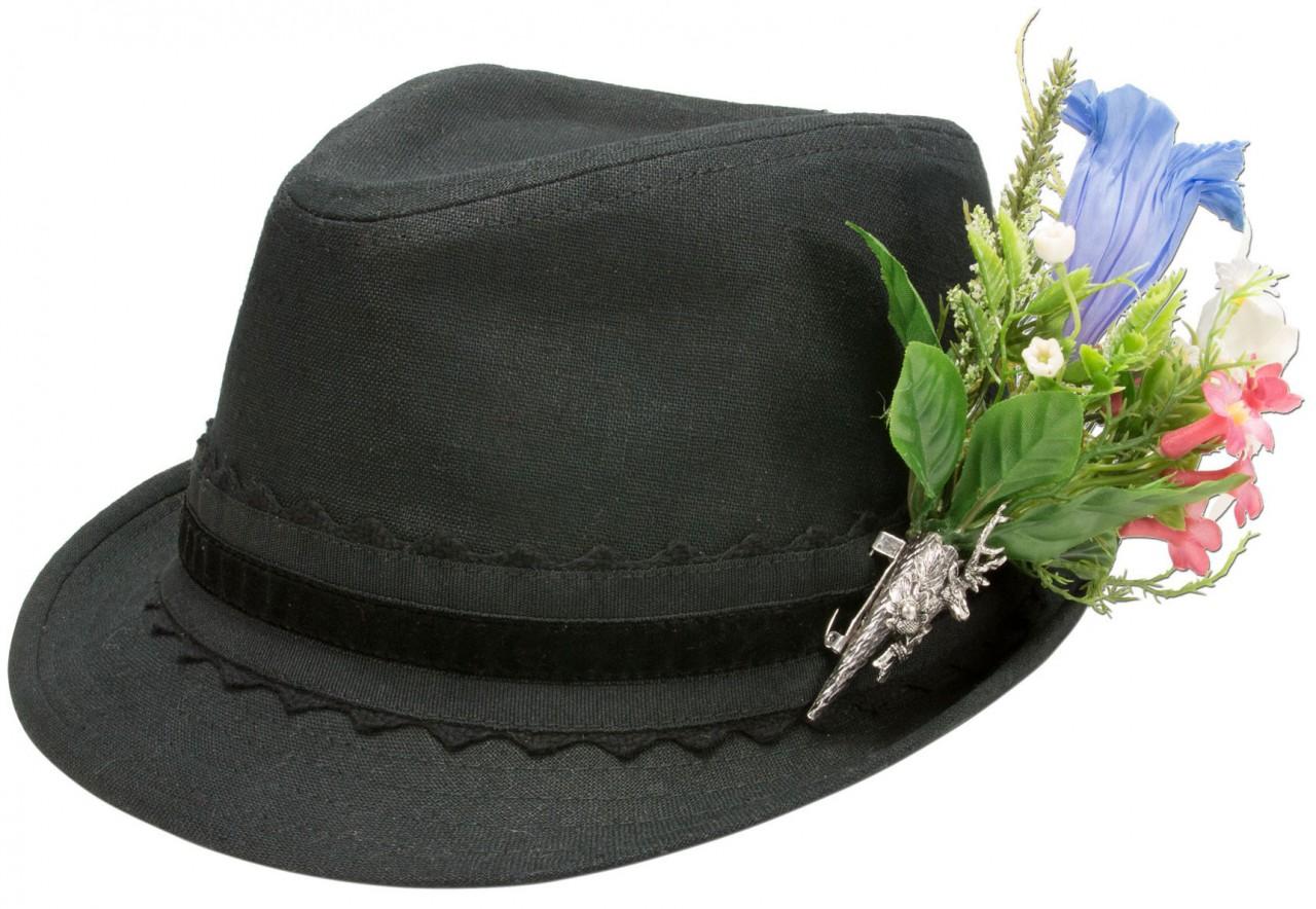 Leinenhut Alpenblümchen schwarz