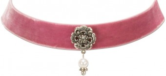 Trachten Choker with Ornamental Pendant, Rose Pink