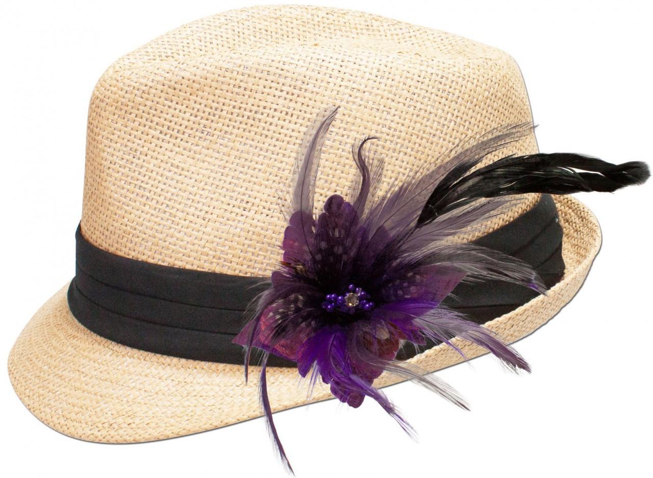 Strohhut Resi mit Federbrosche lila