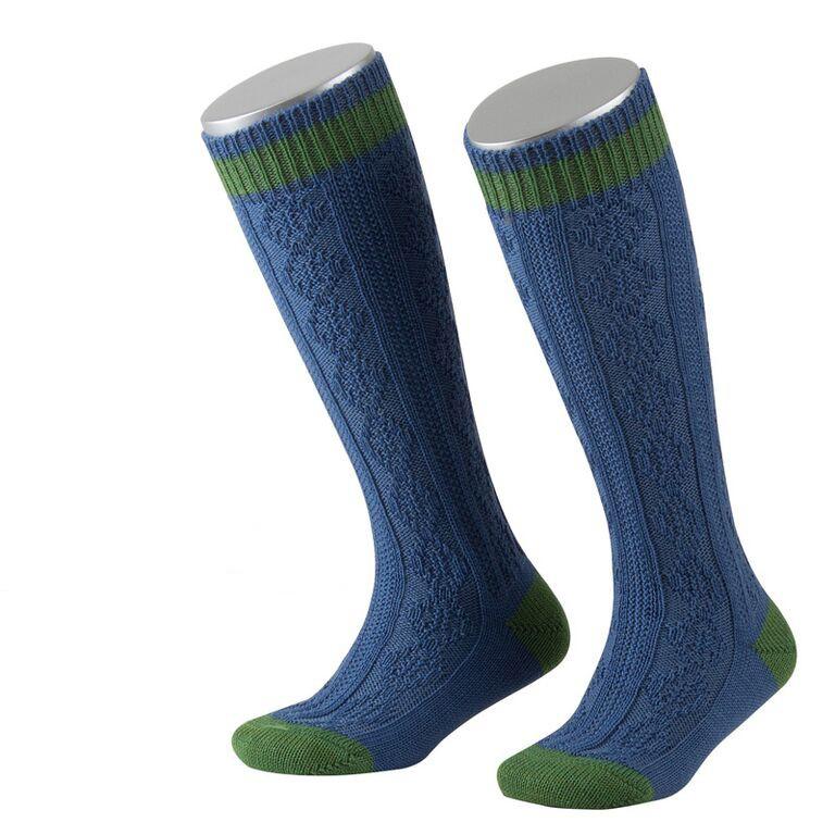Kous voor kinderen in blauw met groene strepen