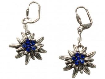 Trachten Earrings, Edelweiß, Silver-Blue