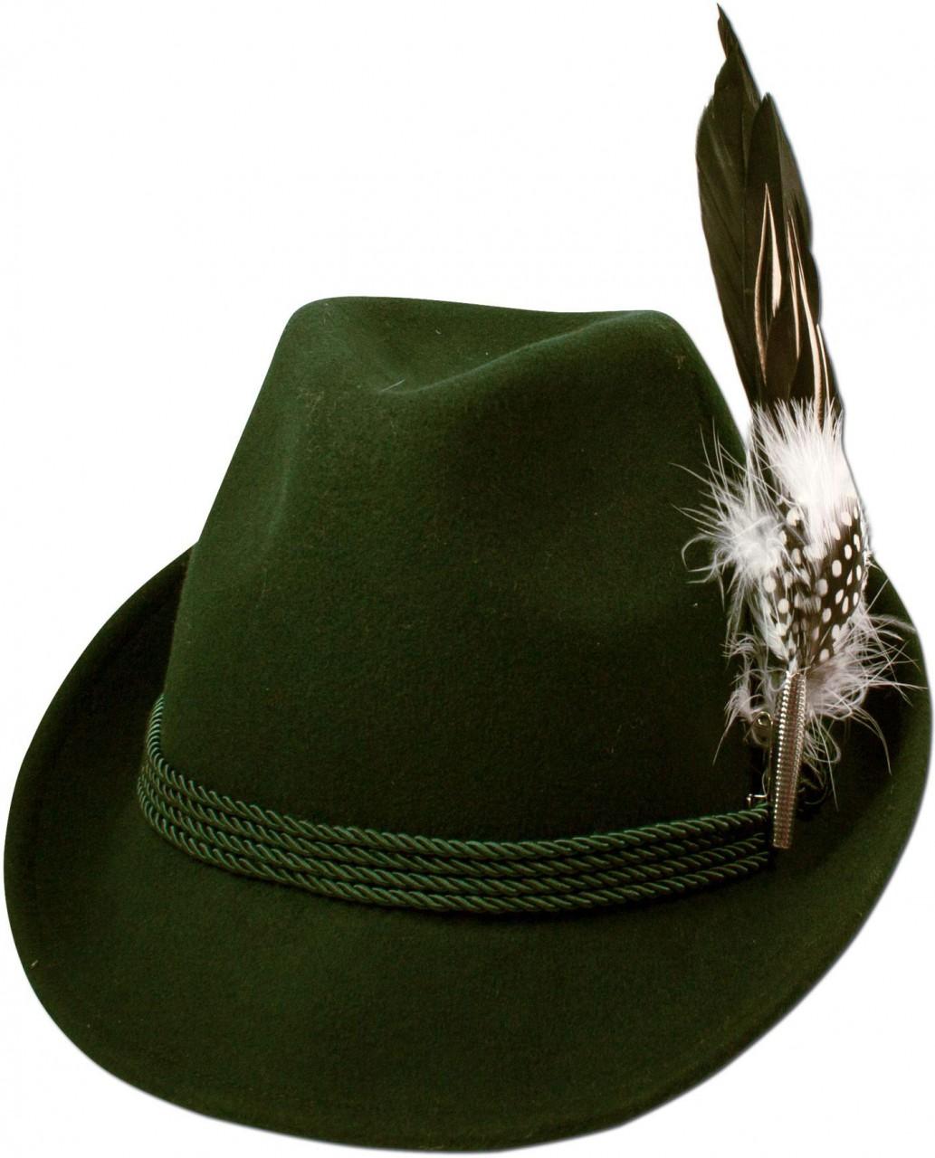 Filzhut Hahnenschlappenfeder grün