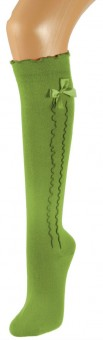 Ladies Stockings with Ruffle & Bow, Green