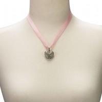 Vorschau: Satin Halskette mit Strassherzerl rosa
