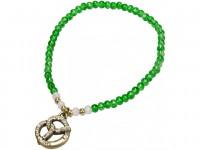 Trachten Perlenarmband mit Strass-Brezel grün