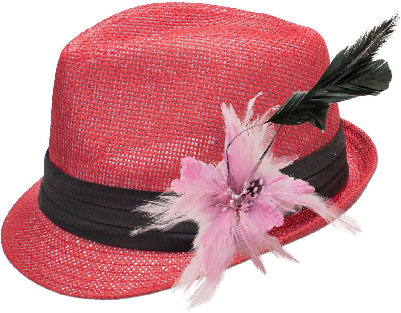 Strohhut Eva mit rosaner Federbrosche