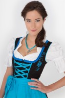 3-piece black dirndl with blue embroidery