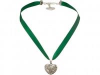 Vorschau: Satin Halskette mit Strassherzerl grün