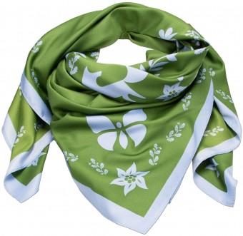 Neckerchief, Forest Print, Emerald Green