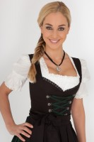 Black, 3-piece dirndl with dark green lacing