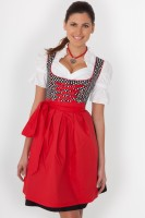 3-piece black midi dirndl with white polka dots