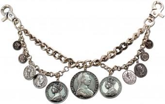 Trachten Charivari Chain with Coins, Antique Silver