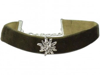 Thick Velvet Choker with Edelweiß, Olive Green